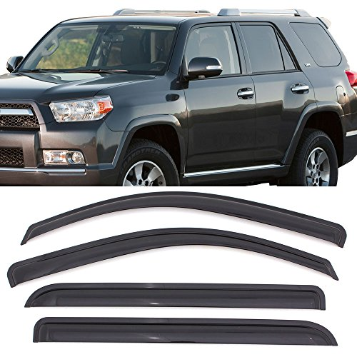 Window Visors Fits 2010-2018 Toyota 4Runner | Dark Smoke Car Rain Sun Window Shade Guard Visor by IKON MOTORSPORTS| 2011 2012 2013 2014 2015 2016 2017