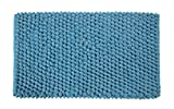Saffron Fabs Bath Rug Cotton and Microfiber, Size 34x21 Inch, Round Loop Bubbles Pattern, Latex Spray Non-Skid Backing, Solid Arctic Blue Color, Handloom 200 GSF Weight, Spot Clean, Rectangular Shape