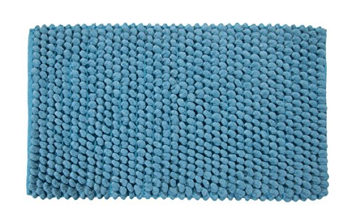 Saffron Fabs Bath Rug Cotton and Microfiber, Size 34x21 Inch, Round Loop Bubbles Pattern, Latex Spray Non-Skid Backing, Solid Arctic Blue Color, Handloom 200 GSF Weight, Spot Clean, Rectangular Shape by Saffron Fabs