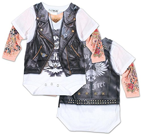[Infant: Long Sleeve Tattoo Biker Costume Romper Infant Onesie Size 6 Mos] (Biker Kid Costume)