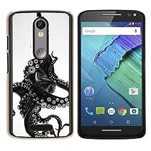 EJOOY---Cubierta de la caja de protección para la piel dura ** Motorola Moto X3 3rd Generation ** --Monstruo Negro Blanco Animal Mar