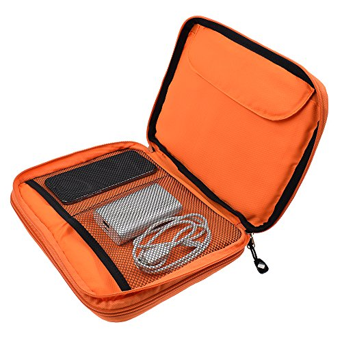LIFEMATE Travel Accessories Electronics Organizer, Universal Cable Management Organizer Travel Bag For USB, Phone, iPad, Charger and Cable(Double Layer, Large, Grey and Orange) by LIFEMATE (Image #3)