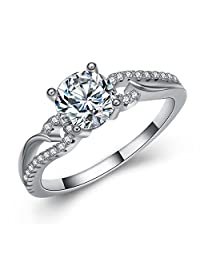 TVS-JEWELS Ladies Swirl Split Shank Cluster Solitaire with accents Promise Ring Platinum Plated 925 Sterling Silver