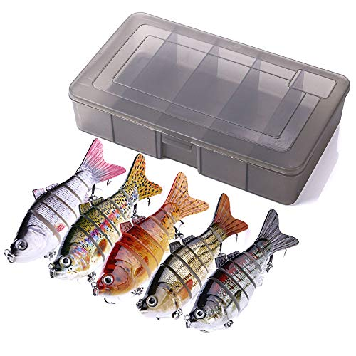 HENGJIA 5pcs Topwater Swimbaits for Bass Fishing Jointed Baits with Storage Box Freshwater and Saltwater Fishing Lures Artificial Trolling Hard Bait