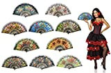 OMyTea Sexy Flowers Folding Hand Held Fans Set for Women - Spanish/Chinese / Japanese Vintage Retro Fabric Fans for Wedding, Church, Party, Gifts (Mixed Colors, 10pcs)