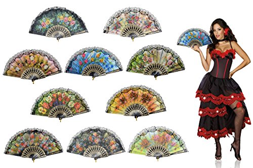 OMyTea Sexy Flowers Folding Hand Held Fans Set for Women - Spanish/Chinese / Japanese Vintage Retro Fabric Fans for Wedding, Church, Party, Gifts (Mixed Colors, 10pcs) by OMyTea