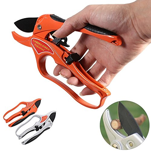 8' Power Shears (Professional Pruning Shears By APRIL 14TH - Ratchet Mechanism, Sharp Tree Trimmers Secateurs Hand Pruner Clippers with Safety Lock - Great for Weak Hands (orange))