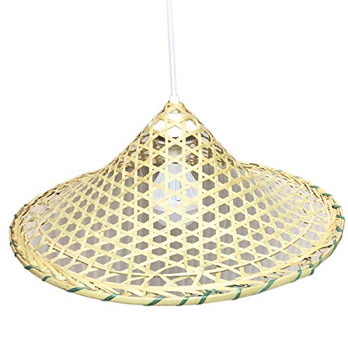 Chinese Sunny Hill Handmade Natural Hollow Out Lattice Bamboo Lampshade Bamboo Pendant Lamp (Split Bamboo Shade)