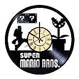 Super Mario Vinyl Clock Gift for Nintendo Gamer Room Wall Decor Video Game Art Mario Bros. Living Room Artwork