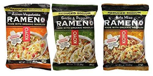Koyo Reduced Sodium Vegan Organic Noodle Ramen 3 Flavor 9 Bag Variety Bundle: (3) Garlic Pepper, (3) Asian Vegetable, and (3) Tofu Miso, 2.1 Oz Ea (9 Tot)