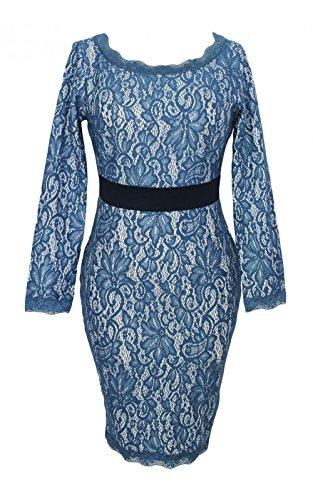 Neue Damen Blau & und cremefarben Lange Ärmel Spitzen Kleid Cocktail Abend Party Kleid Sommer Kleider Größe M UK 10–12EU 38–40