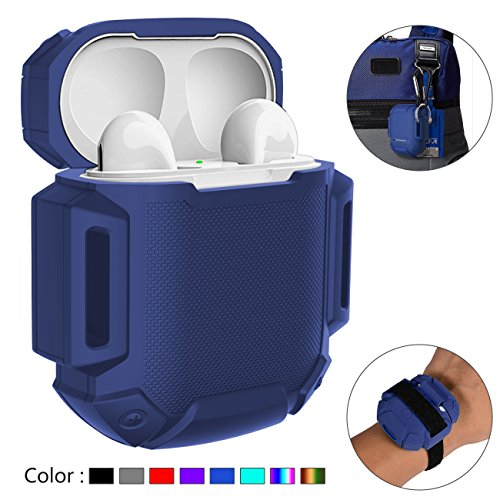 (AirPods Charging Case Waterproof Protective Shock Resistant Silicone Cover Sports Design with Hard Sleeve and Keychain for Apple Airpods (Dark Blue))