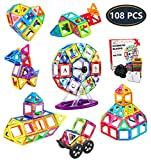 Jasonwell 108 PCS Creative Magnetic Building Blocks for Boys Girls Magnetic Tiles Building Set STEM Preschool Educational Construction Kit Magnet Stacking Toys Gift for Kids Toddlers Children
