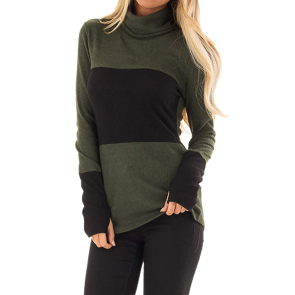 Willow S Women Fashion Comfy Sport Casual High Neck Patchwork Long Sleeve Loose Sweatshift Blouse Tunic Army Green