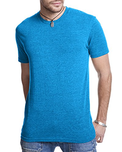 Next Level Men's Rib Collar Tri Blend T-Shirt, VIintage Turquoise, Large