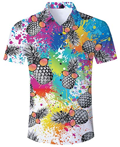 ALISISTER Pineapple Hawaiian Shirt Mens Tropical Button Down Shirts Aloha Slimming Fit Blouses Short Sleeve Party Beach Clothing L