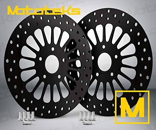 BLACK FRONT ROTOR 11.5 SET W/STAINLESS STEEL BOLTSFOR HARLEY TOURING BAGGER MODELS FITS 84-07
