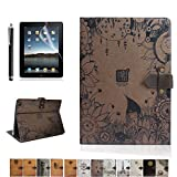 iPad Air 2 Case,DINGRICH Retro Dusk Secret PU leather Flip Case Cover with Smart Feature (Built-In Magnet For Sleep/Wake Feature)for iPad Air 2(2014 Release Only) Screen Protector+Stylus Include(A07)