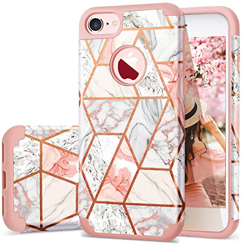 (Fingic iPhone 7 Case/iPhone 8 Case Rose Gold Marble Design Shiny Glitter Bumper Hybrid Hard PC Soft Rubber Silicone Cover Anti-Scratch Shockproof Protective Case for Apple iPhone 7 / iPhone 8 4.7