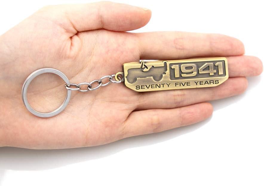 KKY Best 1x Bronze 1941 Metal Emblem Keychain Seventy Five Years Anniversary Key Ring for Wrangler Cherokee Liberty Compass Patriot Renegade Keychain Bronze