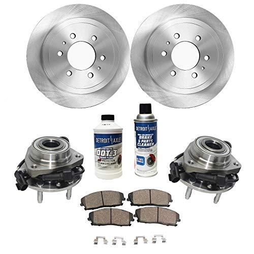 (Detroit Axle - Front Wheel Hub Bearing, Disc Brake Rotors w/Ceramic Pads for 6 Lug 4x4 4wd - 07-14 Cadillac Escalade - [07-13 Chevy Avalanche] - 07-13 Silverado 1500/ GMC Sierra 1500 - [07-14 Yukon])