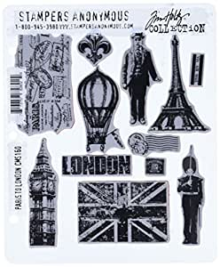 Stampers Anonymous Tim Holtz Cling Rubber Stamp Set, 7 by 8.5-Inch, Paris to London