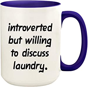 Introverted But Willing To Discuss Laundry - 15oz Ceramic White Coffee Mug Cup, Deep Purple