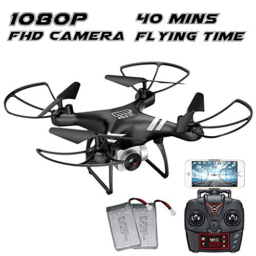 KUSOII Drone with Camera Live Video FHD 1080p for Kids Beginners 40 Minutes Flying Time double batteries VR Quadcopter Toy with Mobile Control Black