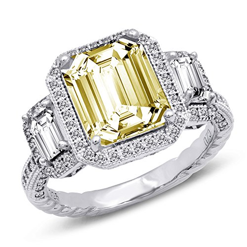 DTLA Canary Yellow Three Stone Sterling Silver Cubic Zirconia Engagement Ring - 7