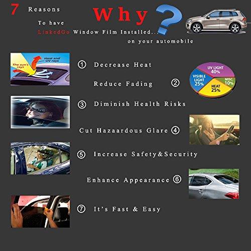 Auto Glass LinkedGo Smoke Black 35/% VLT Car Window Tinting Film 20inch6.5FT