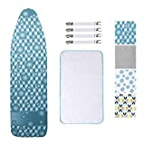 Dalykate Replacement Ironing Board Cover and Pad with Elastic Edge and Scorch and Stain Resistant Thick Padding Ironing Board Covers 4 Fasteners and Protective Scorch Mesh Cloth