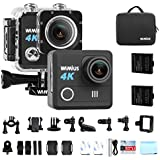 WiMiUS Action Camera 4K HD 20MP Helmet Cam 30M Underwater Cameras 170 Degree Wide Angle 2.0 LCD Screen Dual 1000mAh Batteries with Portable Package Waterproof Case and Kit of Accessories, L1, Black