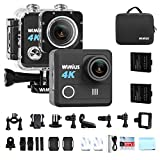 WiMiUS 4K Action Camera HD 20MP 30M Underwater Cameras Wifi Helmet Cam 170° Wide Angle 2.0'' LCD Screen Dual Rechargeable Batteries Portable Package Waterproof Case Kit of Accessories, L1, Black