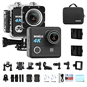 "WiMiUS 4K Action Camera HD 20MP Helmet Cam 30M Underwater Cameras 170° Wide Angle 2.0"" LCD Screen Dual Rechargeable Batteries with Portable Package Waterproof Case and Kit of Accessories, L1, Black"