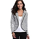 MISS MOLY Womens Notched Lapel Striped Blazer Jacket Long Sleeve Suit Outwear, Black, Medium