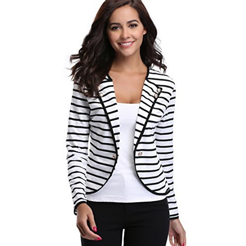 MISS MOLY Women's Notched Lapel Casual Striped Cardigan Jacket Long Sleeve Spring Outwear, XL,Black by MISS MOLY