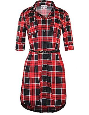 Ladies' Code Women's Half Sleeve Plaid or Stripe Shirt Dress with Belt