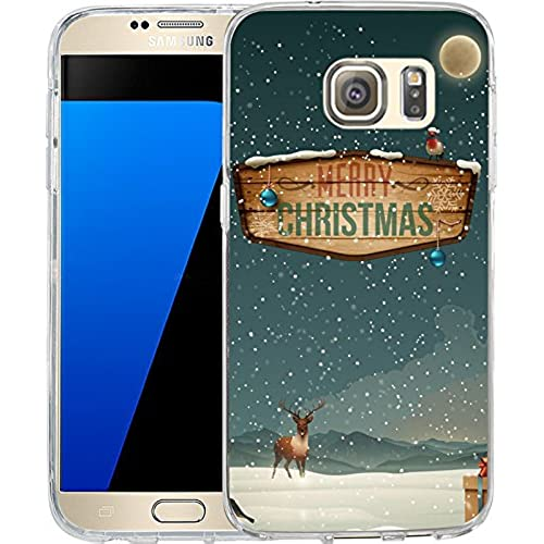 S7 Case Christmas Design Beautiful snowflakes, LAACO Scratch Resistant TPU Gel Rubber Soft Skin Silicone Protective Sales