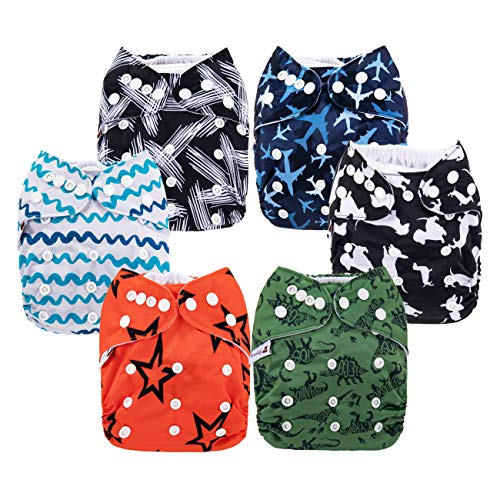 Anmababy 6 Pack Adjustable Size Waterproof and Washable Pocket Cloth Diapers with 6 Inserts and 1 Wet Bag(Boy)