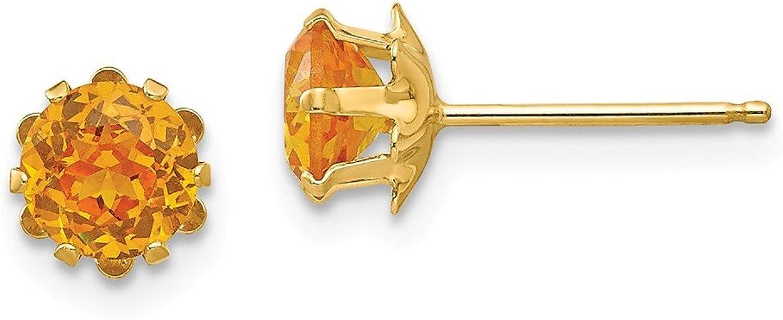 Feb Earrings Mia Diamonds 14k Yellow Gold Madi K 5mm Synthetic