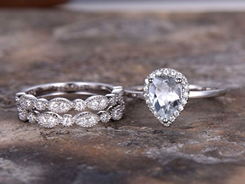 3pcs white gold plated wedding ring set,6x8mm Pear cut White topaz,925 sterling silver,marquise matching band,Man Made diamond CZ ring,any size