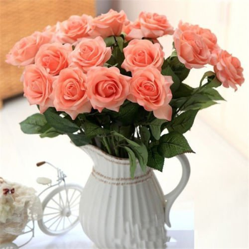 UNAKIM--Wholesale 10Pc Head Real Touch Latex Rose Flowers For wedding Bouquet - Magnolia Shopping Stores Center