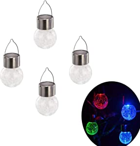 xhope 4 pcs Globe Sloar Lights Haging Lantern,Changing 7 Colors Outdoor Garden Solar Lamp,LED Hanging Lights Decorative Patio Lamp for Party,Outside,Tree,Yard,Garden