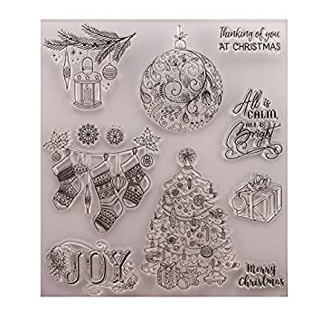 GIMITSUI Store Clear Stamp Silicone DIY Paper Craft (Christmas Tree, Present)