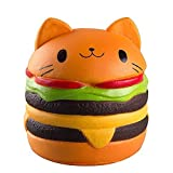Xinzistar Kawaii Jumbo Slow Rising Squishies Cream Scented Squeeze Kid Toy Phone Charm Gift for Stress Relief (Hamburger Cat)