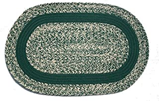 product image for Oval Braided Rug (2'x3'): Oatmeal Dark Green - Dark Green Band