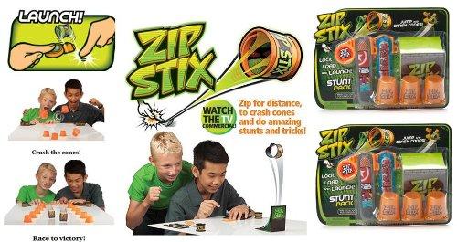 Price comparison product image Zip Stix Stunt Pack x 2 (2 ZipStix, 2 Launchers, 3 Crash Cones and 1 Kicker Ramp)