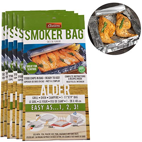 Smoker Bags - Set of 6 Alder Smoking Bags for Indoor or Outdoor Use - Easily Infuse Natural Wood - Smoker Alder Bag