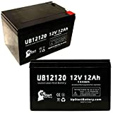 2x Pack - E-Scooter 24 Volt 250 Watt Battery - Replacement UB12120 Universal Sealed Lead Acid Battery (12V, 12Ah, 12000mAh, F1 Terminal, AGM, SLA) - Includes 4 F1 to F2 Terminal Adapters
