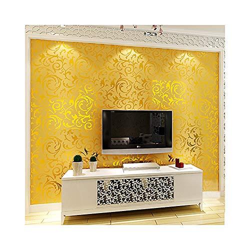 - Luxury European-Style Metal Wallpaper Modern Waterproof Tinfoil Home Decor Damask Pattern Wallpaper Roll,Gold